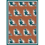"Milliken NFL Team Repeat (NFL-R) Miami Dolphins 09050 Repeat Rectangle (4000054757) 5'4"" x 7'8"" Area Rug"