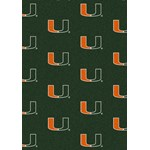 "Milliken College Repeating (NCAA) Miami 01157 Repeat Rectangle (4000018922) 7'8"" x 10'9"" Area Rug"